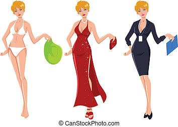 Glamour Blond - Cartoon illustration of an attractive blond...