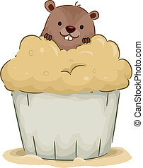 Groundhog Cupcake - Illustration of a Groundhog Peeking From...