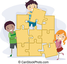Childrens Puzzle - Illustration of Kids Solving a Giant...
