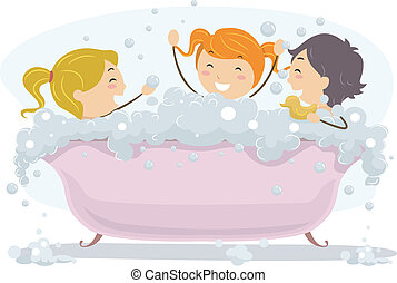 Bubble Bath Day - Illustration of Kids Celebrating Bubble...