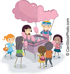 Cotton Candy Kids - Illustration of Kids Buying Cotton Candy