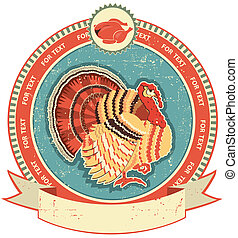 Turkey label on old paper texture.Vintage style