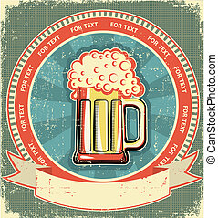Beer label set on old paper texture.Vintage background
