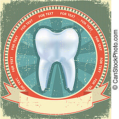 Tooth label set on old paper texture.Vintage background