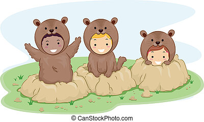 Groundhog Kids - Illustration of Kids Dressed in Groundhog...
