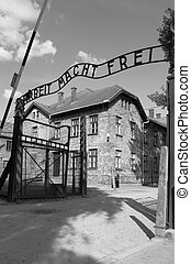 Entrance gate to Auschwitz concentration camp