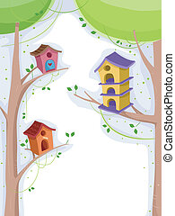 Birdhouse - Illustration of Birdhouses Perched on Trees