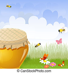 jar sweet honey in the flower meadow Illustration contains a tra