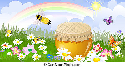 Summer panorama from a jar sweet honey Illustration contains a t