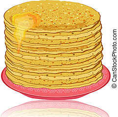 plate of pancakes and honey