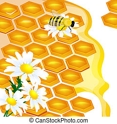 design of honeycomb and flowers Illustration contains a...