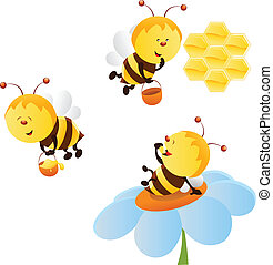 Bee Set - Collection of cartoon bee characters