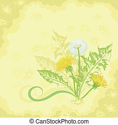 Flowers on a brown and yellow background
