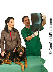 Owner with dog and radiologist vet - Owner woman with her...