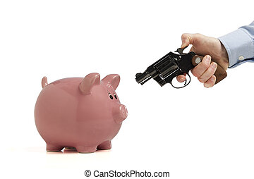 robbing the piggy bank - Close-up of a piggy bank being...