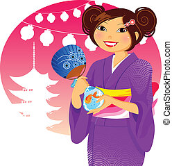japanese festival - Japanese girl in kimono during the...