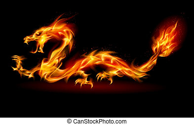Fire Dragon - Dragon Abstract fiery Illustration on black...