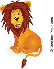 divertido, león, caricatura