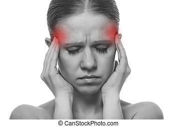 Woman having a migraine, isolated on white background,...