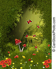 Fairy forest - Illustration of a misterious forest