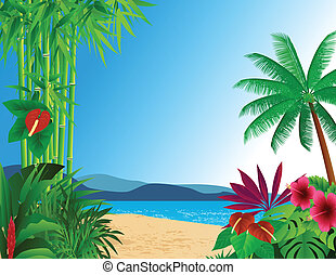 tropical beach background - illustration of tropical beach...