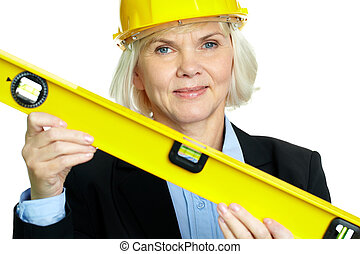 Woman with measuring tool - Portrait of confident architect...