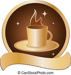emblem with golden cup with hot beverage