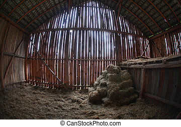 last reserves of hay in old barn - very old barn,indoor in...