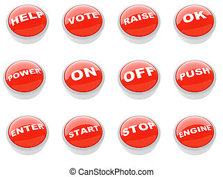set of red buttons with a caution sign on a white background