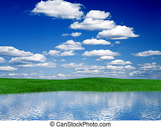 lawn with a bright green grass with reflections in water...