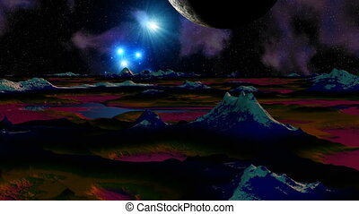 Flashout in space - The planet flies over a mountain...