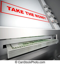 modern ATM, with red sign and dollars in a tray
