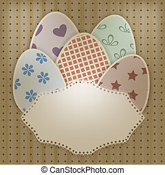vector  easter greeting card with retro eggs abd lacy napkin