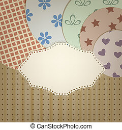 vector lacy napkin abd circle retro  patterns on seamless background with stripes and dots, clipping mask, patterns can  be used separately
