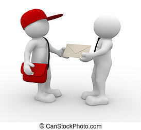 Postman - 3d people - human character, person with cap and...