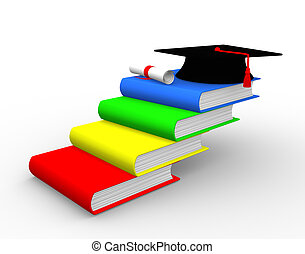 Book - Graduation cap on book stack ladder. 3d render