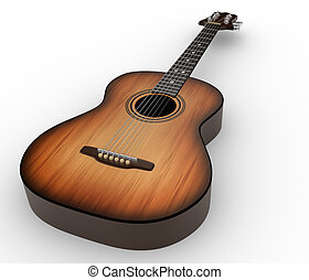 Acoustic guitar 3d render illustration