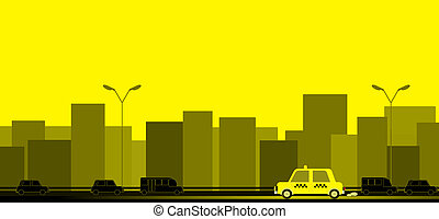transport background with taxi car