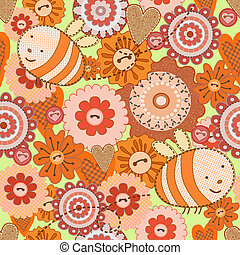 Bee and Flowers. Seamless backgroun