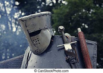 Knight helmet with sword