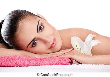 brunette spa woman