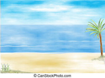 Beach resort scene with palm tree and blue sea, illustration