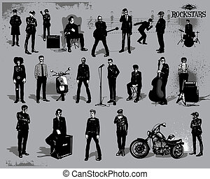 vector set of rock - stars - vector set of rock-stars...