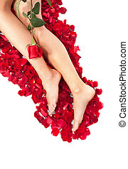 Woman against petals of red roses