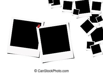 Polariod films background - Pair of polaroid films on white...