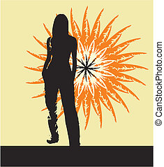 Girl Silhouette yellow - Silhouette of the girl standing on...