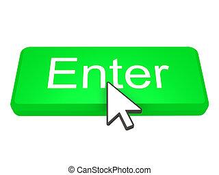 Enter button with cursor - Green Enter button with a cursor...