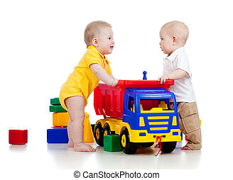 dois, pequeno, crianças, tocando, cor, brinquedos