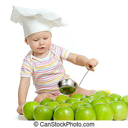 funny child with green apples healthy food - Adorable child...