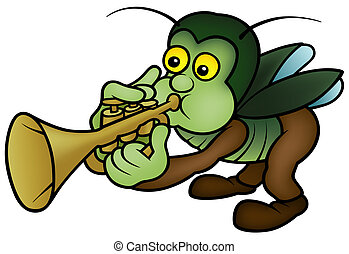 Bug and Trumpet - Cartoon Illustration, Vector